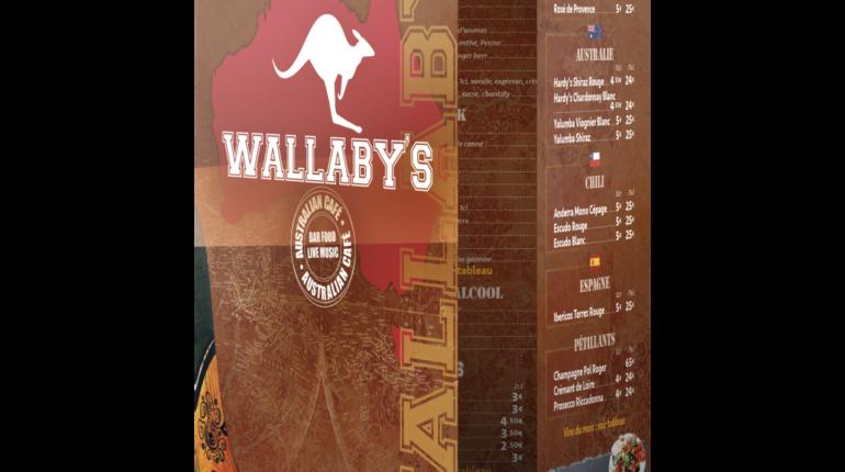 Carte du Wallaby's bar (Angers)